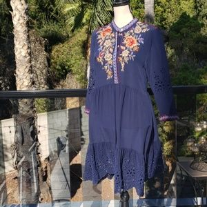 Nwt Johnny Was embroidered Silk dress size Small